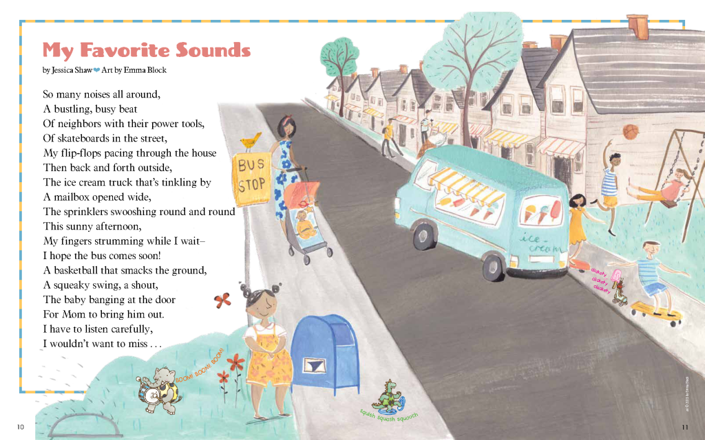 "Jessica Shaw Ladybug Magazine ""My Favorite Sounds""  May 2015"